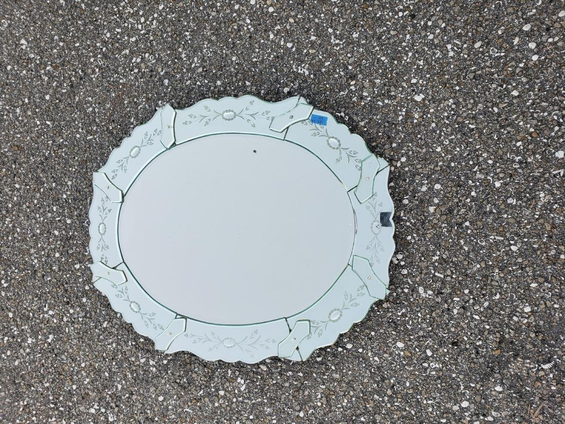 LARGE ANTIQUE VENETIAN GLASS WALL MIRROR OVAL