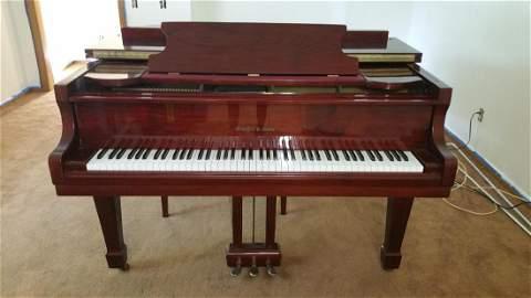SCHAFER BABY GRAND PIANO, 1986, POLISHED MAHOGANY