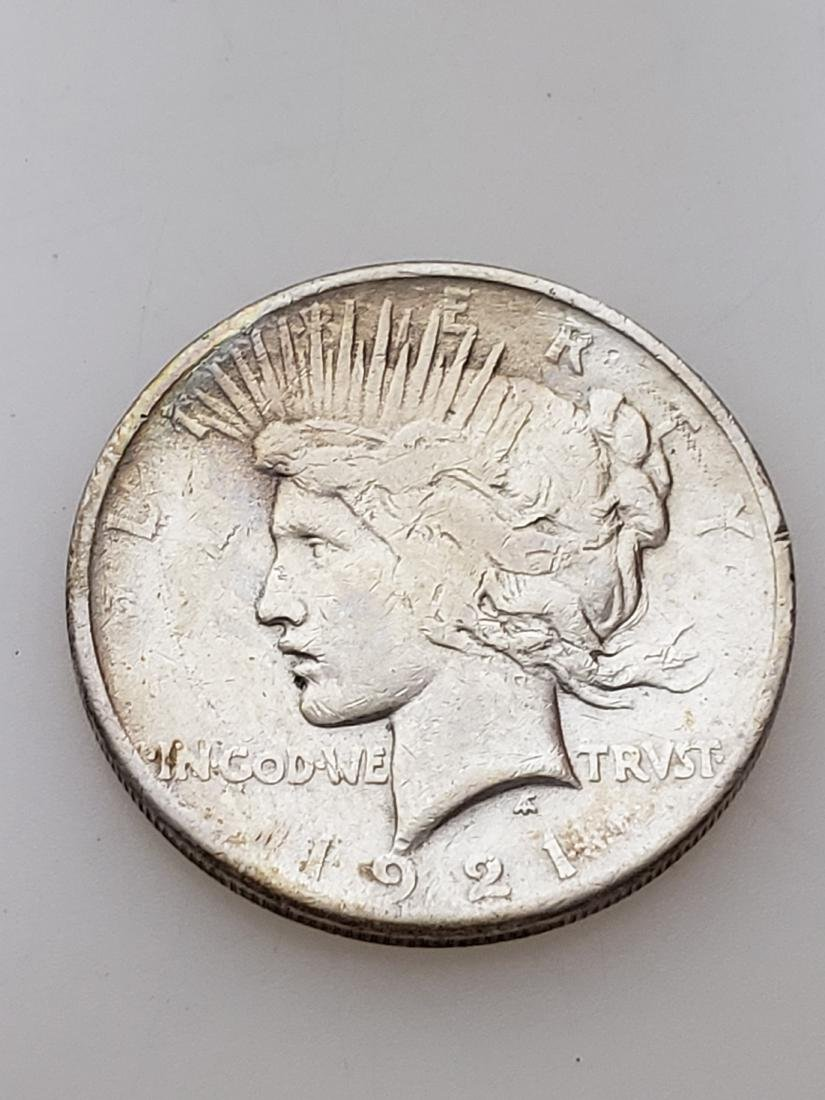 1921 HIGH RELIEF PEACE DOLLAR - 90% silver