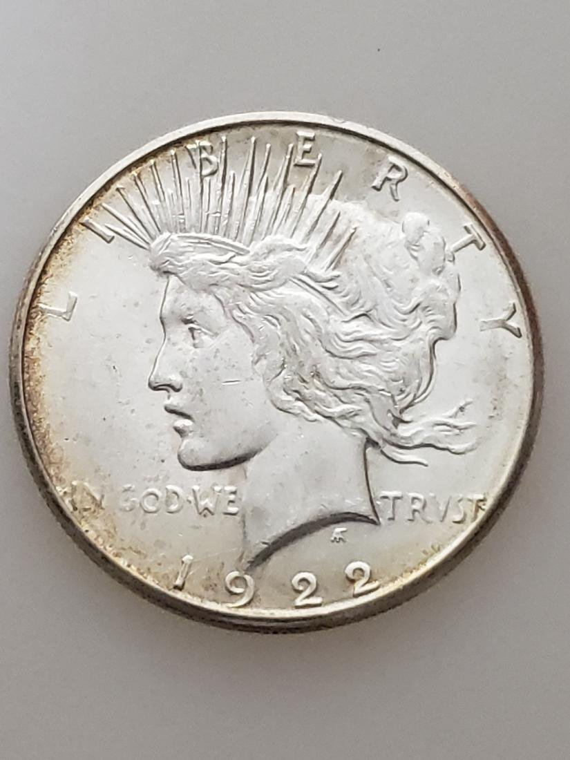 1922-S PEACE DOLLAR, .900 SILVER