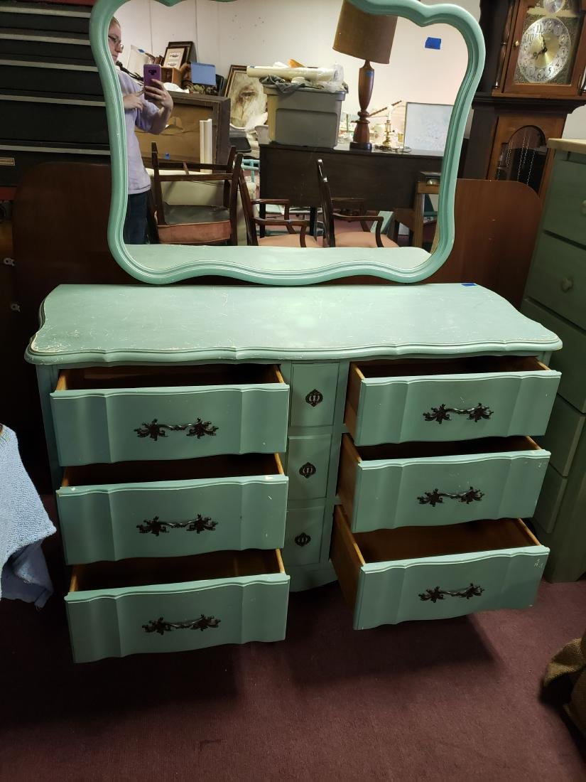 FRENCH PROVINCIAL PAINTED DOUBLE DRESSER/MIRROR - 2