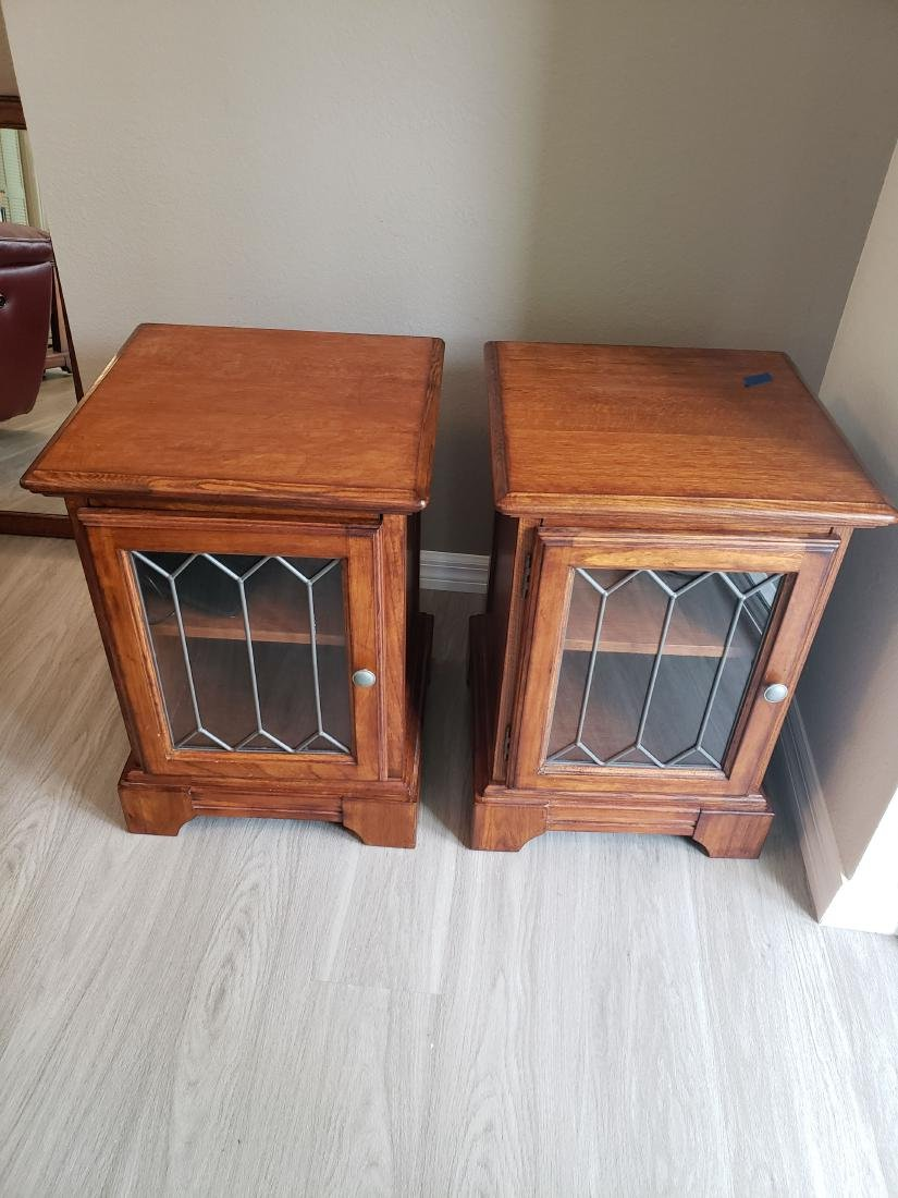 SIDE or END TABLE PAIR, LEADED GLASS DOORS, 2 SHELVES