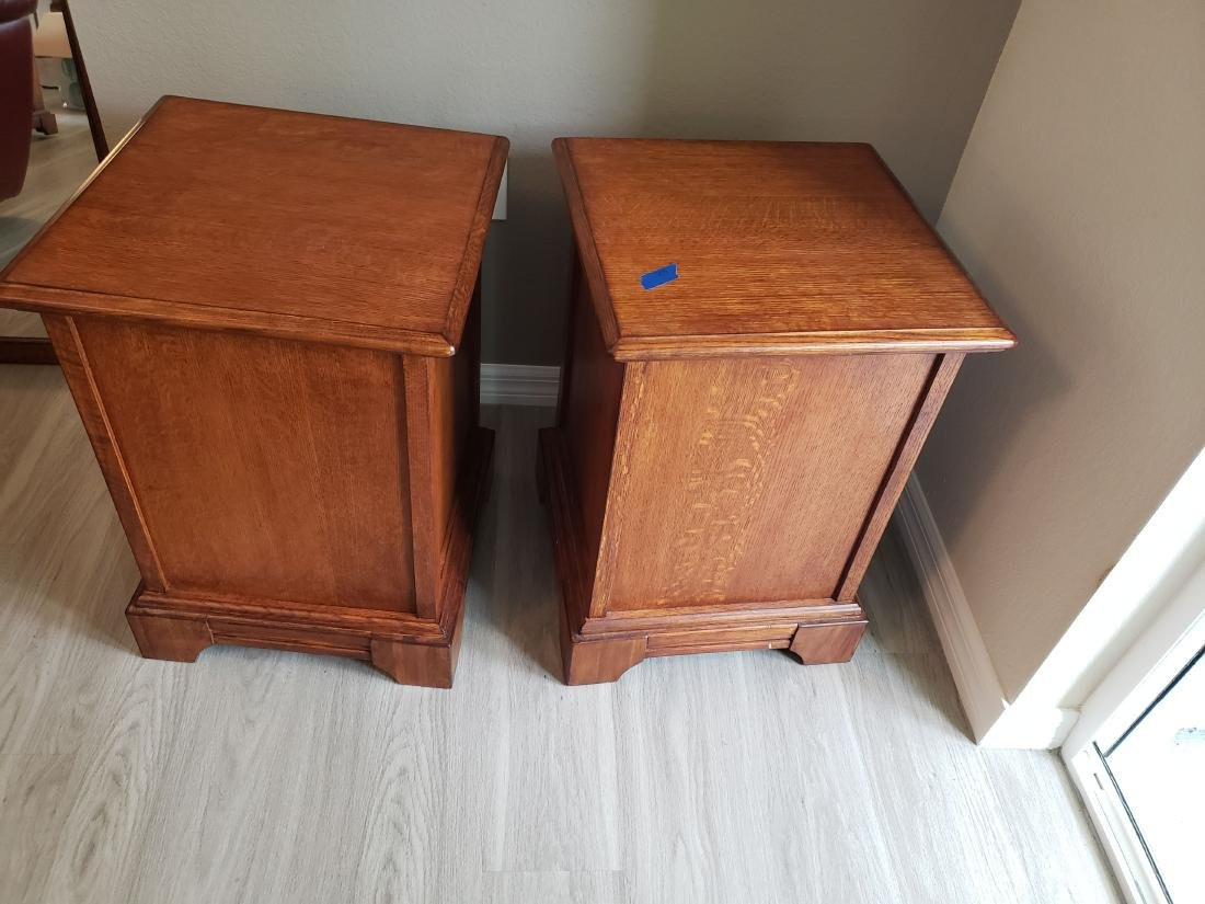 SIDE or END TABLE PAIR, LEADED GLASS DOORS, 2 SHELVES - 3