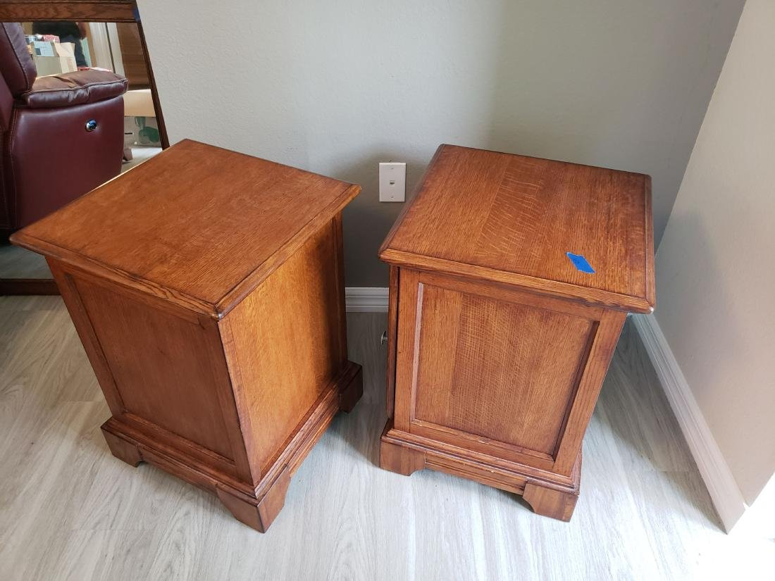 SIDE or END TABLE PAIR, LEADED GLASS DOORS, 2 SHELVES - 4