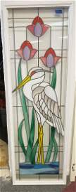 STAINED LEADED GLASS SIDELIGHT WINDOW HERON or EGRET