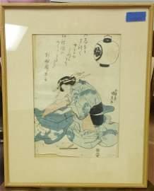 pre-1844 KUNISADA WOODBLOCK, BROCADE, FLOATING WORLD
