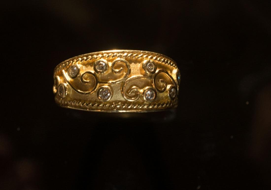 14k Diamond Greek Key Design Ring