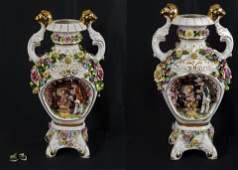Pair of Vintage Dresden Courtship Vases
