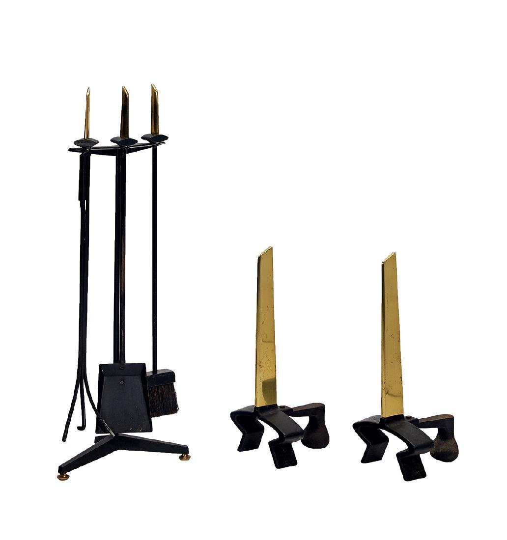 Donald Deskey: Andirons and fireplace tool set (6)
