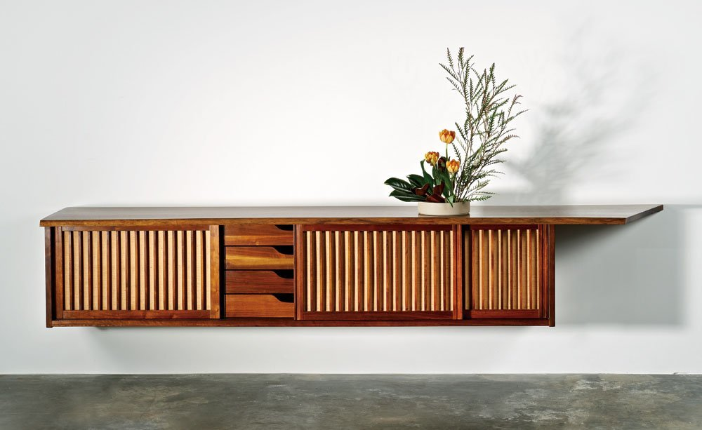 George Nakashima, Hanging wall case with free edge