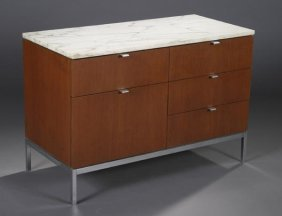 1: Florence Knoll teak & marble credenza