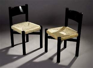 Charlotte Perriand Chairs, Sentou, Rush and Oak