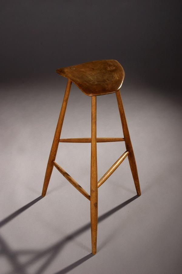 62: Wharton Esherick high stool, craftsman, Hickory