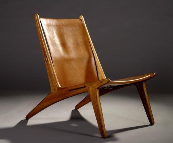 84: Swedish Modern hunting chair, oak and leater