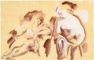 Alexander Archipenko, Untitled (Two seated females)