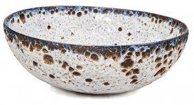 Gertrud & Otto Natzler, Gray Earth Crater Glazed Bowl