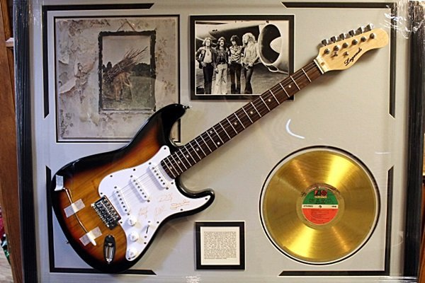 Autographed Led Zeppelin Guitar with Gold Record and