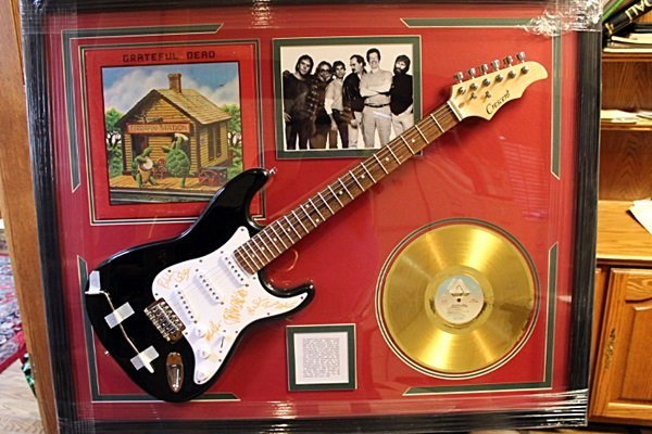Autographed Grateful Dead Guitar with Gold Record and
