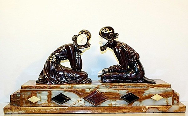 Tender Promises - Bronze and Ivory Sculpture by