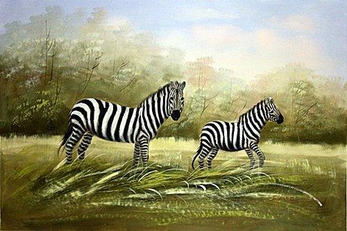 Original Oil on Canvas. Zebras by S. Kurg