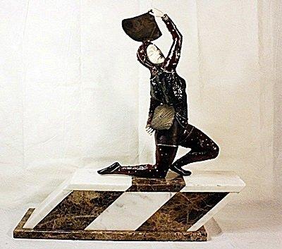 Oriental Fan Dancer - Bronze and Ivory Sculpture by