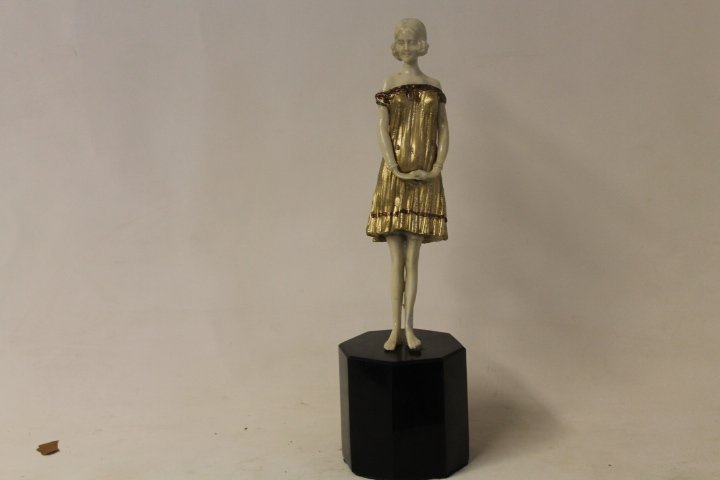 Signed Chiparus Bronze and Ivory -Cinderella