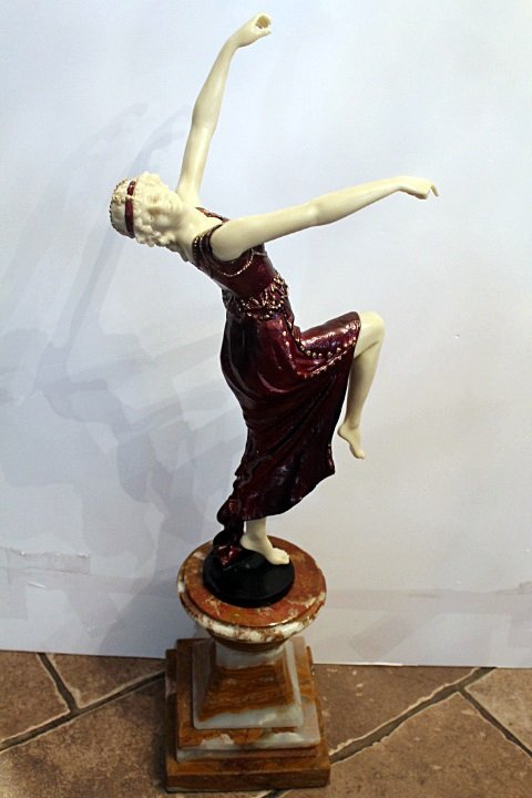 Signed Chiparus Bronze and Ivory - Mascarade Girl