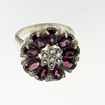 SILVER RING WITH RHODOLITE AND WHITE ZIRCON