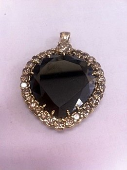 Lady's 14K Yellow Gold Black Moisanite/Diamond Pendant
