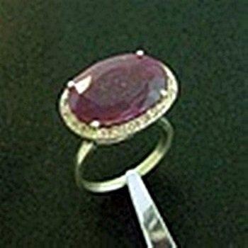 Genuine Ruby & Diamond Ring in Sterling Silver