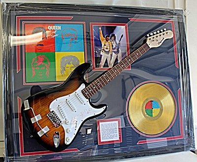 Autographed Queen Guitar With Golden Record, Bio and