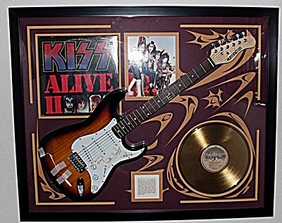 Autographed Kiss Guitar with Gold Album and Album