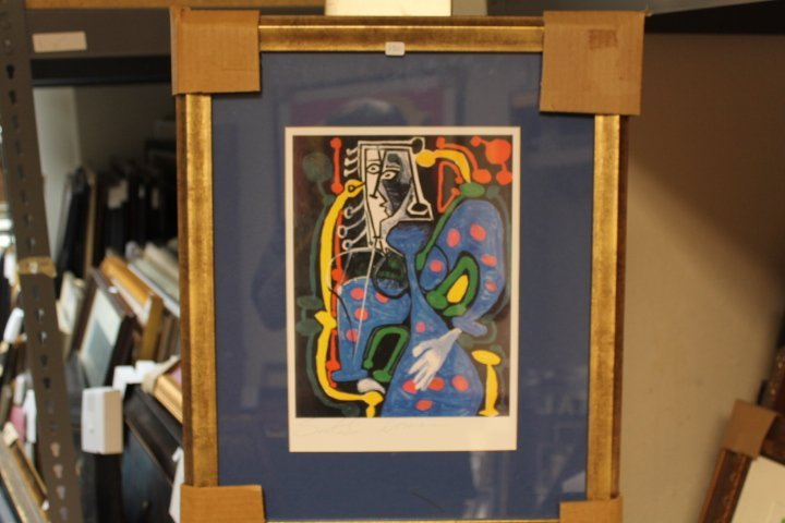 Framed Picasso-Seated Woman Lithograph (8BO)