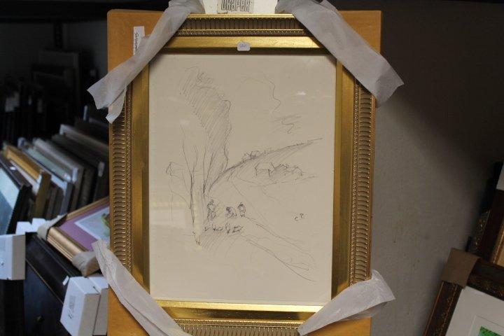 Framed signed Pencil Drawing (6BO)