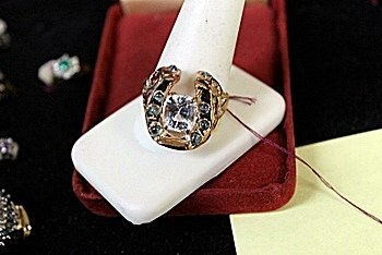Lady's 18K Yellow Gold White Topaz/Cats's Eye/Ruby Ring