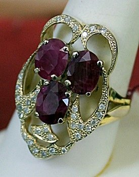 Lady's 10K Yellow Gold Rubies Diamond Ring