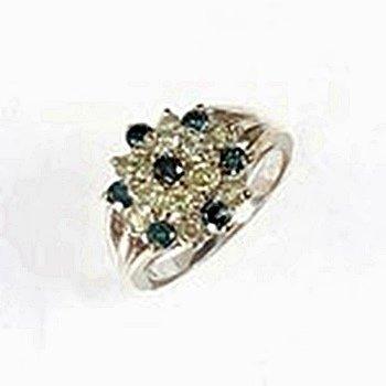 Lady's 14K Yellow Gold Blue Diamond Ring