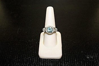 Lady's Beautiful White Gold over Silver London Blue
