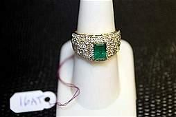 Ladys 14K Yellow Gold EmeraldDiamond Ring