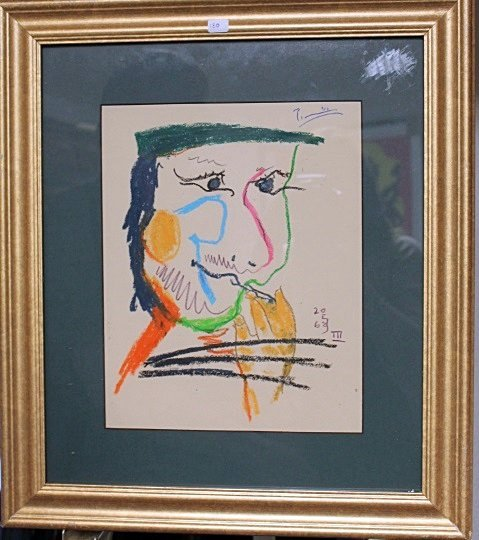 Framed Picasso- Untitled Lithograph (1BO)