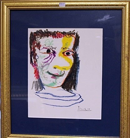 Framed Picasso- Untitled Lithograph (3BO)