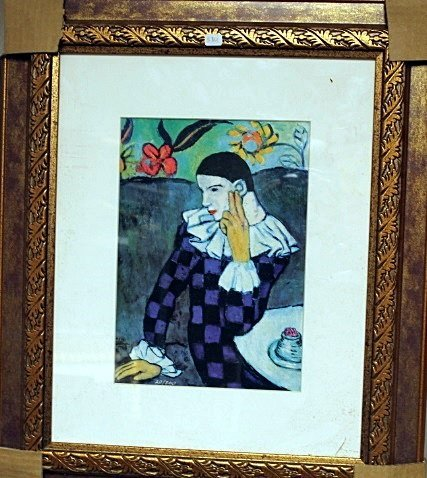 Framed Picasso- Leaning Harlequin Glicee Print (5BO)
