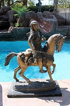 Large Bronze Sculpture- Arab on Horse by Bayre