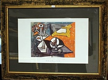 Framed Picasso- Still Life with Flowers and Fruit Dish