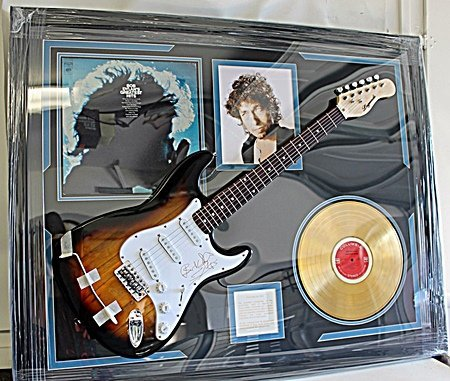 Bob Dylans Greatest hits Autographed Guitar and Gold