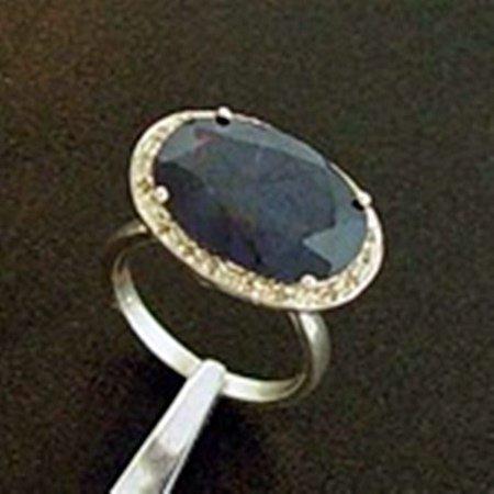 Genuine Blue Sapphire & Diamond Ring in Sterling Silver