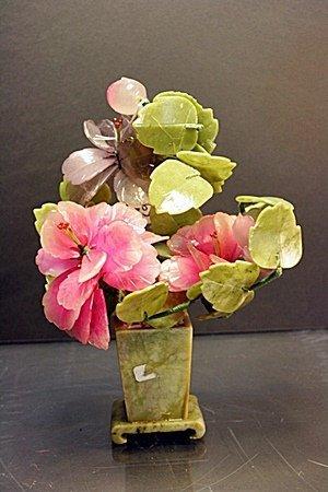 "Siberian Jade ""Bonsai Flowers with vase"""
