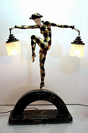 Harlequine Lamp - Bronze and Ivory Sculpture by Andre