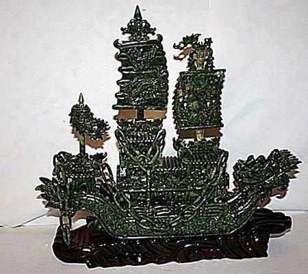 """Siberian Green Jade """"Boat"""""""