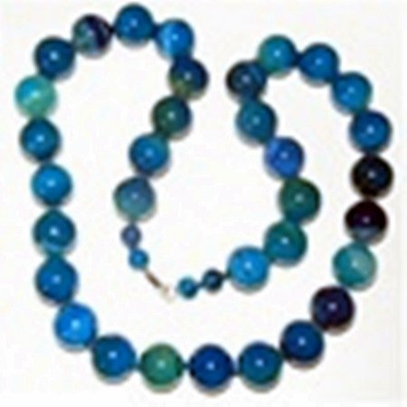 Blue Agate Gemstone Necklace w/ Sterling Silver Clasp